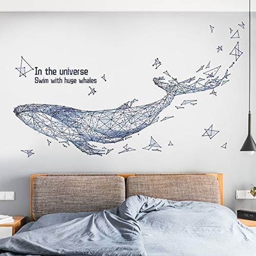 Arte nórdico ballena pegatinas de pared creativas sala de estar dormitorio sofá fondo decoración de la pared calcomanías de vinilo para pared decoración del hogar