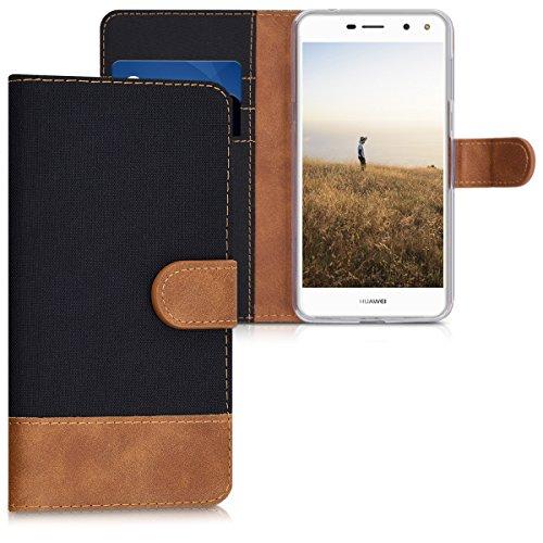 kwmobile Huawei Y6 (2017) Hülle - Kunstleder Wallet Case für Huawei Y6 (2017) mit Kartenfächern & Stand - Schwarz Braun