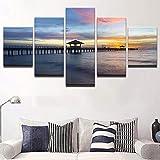 XiaoHeJD Inicio Imágenes de Arte Decorativo Carteles en HD 5 Paneles Mar Playa Marino para Sala de Estar Moderno Modular Arte en Lienzo Impresiones Pinturas-S