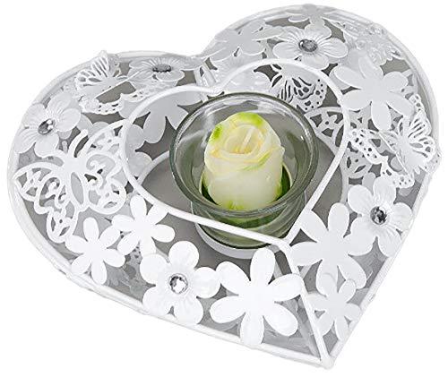Formano - Teelichthalter Herz aus Metall - Nostalgie Kerzenhalter mit Glas und Blumen-Deko inkl Teelichtglas 18cm gross