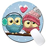 Galdas Mouse Pad Mousepad Round Art Print Comfortable Rubber Base Mouse Pads for Computers Laptop (Owl)