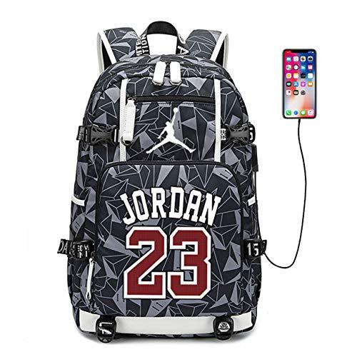 LI JI Basketball Star Michael Jordan Rucksack Hochwertige Leinwand Rucksack Männliche Und Weibliche Studenten Kinder Reisetasche USB Computer Rucksack (3 Farben Optional)