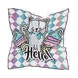 ALARGE - Bufanda cuadrada de seda geométrica para gatos y gatos, protector solar, ligera, suave, bufandas, bufandas, chal para mujeres y niñas