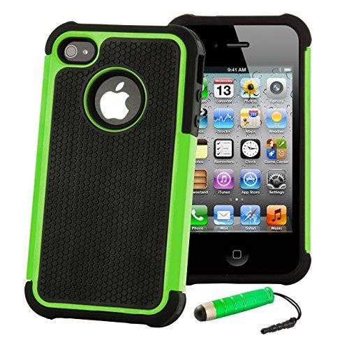 32nd Shockproof Series - Schutz Stoßdämpfung hülle vor Stürzen und Stößen für Apple iPhone 4 & 4S, Case Cover mit Stoßdämpfenden Kern - Grün