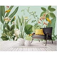 Iusasdz カスタム壁画3D壁紙東南アジア熱帯雨林バナナの葉鳥と花の背景壁の壁紙-280X200Cm
