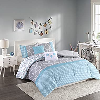 Intelligent Design - Clara -All Seasons Comforter Set -5 Piece - Blue - Geometric Pattern - King/California King Size - Includes 1 Comforter, 2 King Shams, 2 Decorative Pillows - Ideal for Guest Room
