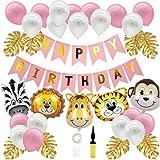 Geburtstagsdeko für Mädchen Kinder,Uhaha Kindergeburtstag Deko Tiere Dschungel Partyset Latex Luftballon Happy Birthday Girlande Folienballon Tiere Palmblättern Tier Partei Baby Shower Deko