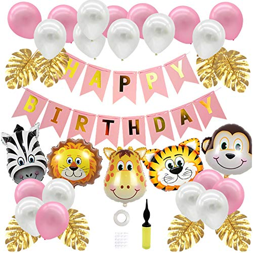 Geburtstagsdeko für Mädchen Kinder,Uhaha Kindergeburtstag Deko Tiere Dschungel Partyset Latex Luftballon Happy Birthday Girlande Folienballon Tiere Palmblättern Tier Partei Baby Shower Deko