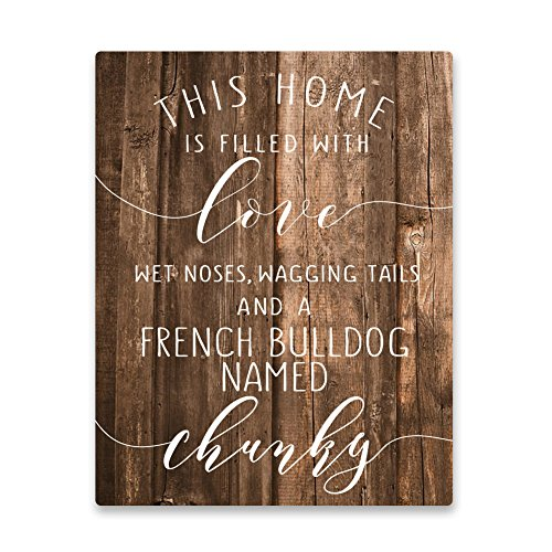Pattern Pop Personalized French Bulldog Home is Filled with Love Metal Wall Art
