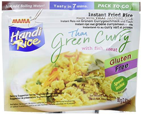 Mama Gebratener Instant Jasminreis mit thailändischem grünem Curry und Fisch, 10er Pack (10 x 80 g)