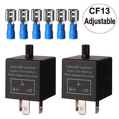 Gebildet 2 Stücke 3 Polig Blinkrelais CF-13KT, Blinker Relais für LED Blinker Elektronische, Einstellbare Blinkerrelais 12,8V 0,1W-150W für Fahrzeug Auto Motorräder, mit 6 Terminals