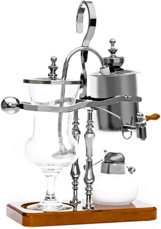 YYDIANZ La máquina de café con sifón de café con sifón de Temperatura Ajustable se Puede equipar con una Amoladora (Color  Plata + Amoladora) (Color   C)