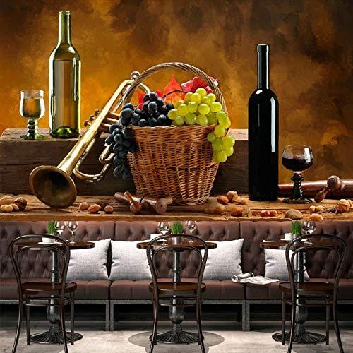 Afashiony Papier Peint 3D Bar Moderne Ktv Fruit Rouge Bouteille De Vin Papier Peint Restaurant Cuisine Salon Personnalisé Peinture Murale-350Cmx250Cm
