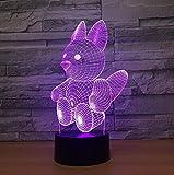 Lámpara 3D De Ardilla Táctil Acrílico Visual Led Colorido Cambio Gradual Luz Nocturna Habitación De Niños Led Novedad Accesorios De Iluminación 3D
