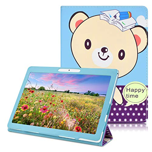 YELLYOUTH 10.1 inch Android Tablet Case, PU Leather Folio Cover fit for Plum 10 Phablet,Lectrus 10,Victbing 10,Hoozo 10,Wecool 10.1,Yuntab 10.1 (K107/K17),KUBI 10.1,Winsing 10