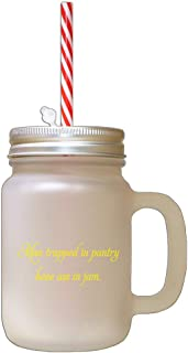 Yellow Man Trapped In Pantry Has Ass In Jam Frosted Glass Mason Jar With Straw