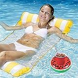 Cama hinchable + juego de soporte para bebidas inflable, hamaca de agua, sillón 4 en 1, colchón de aire para piscina para adultos y niños (amarillo)