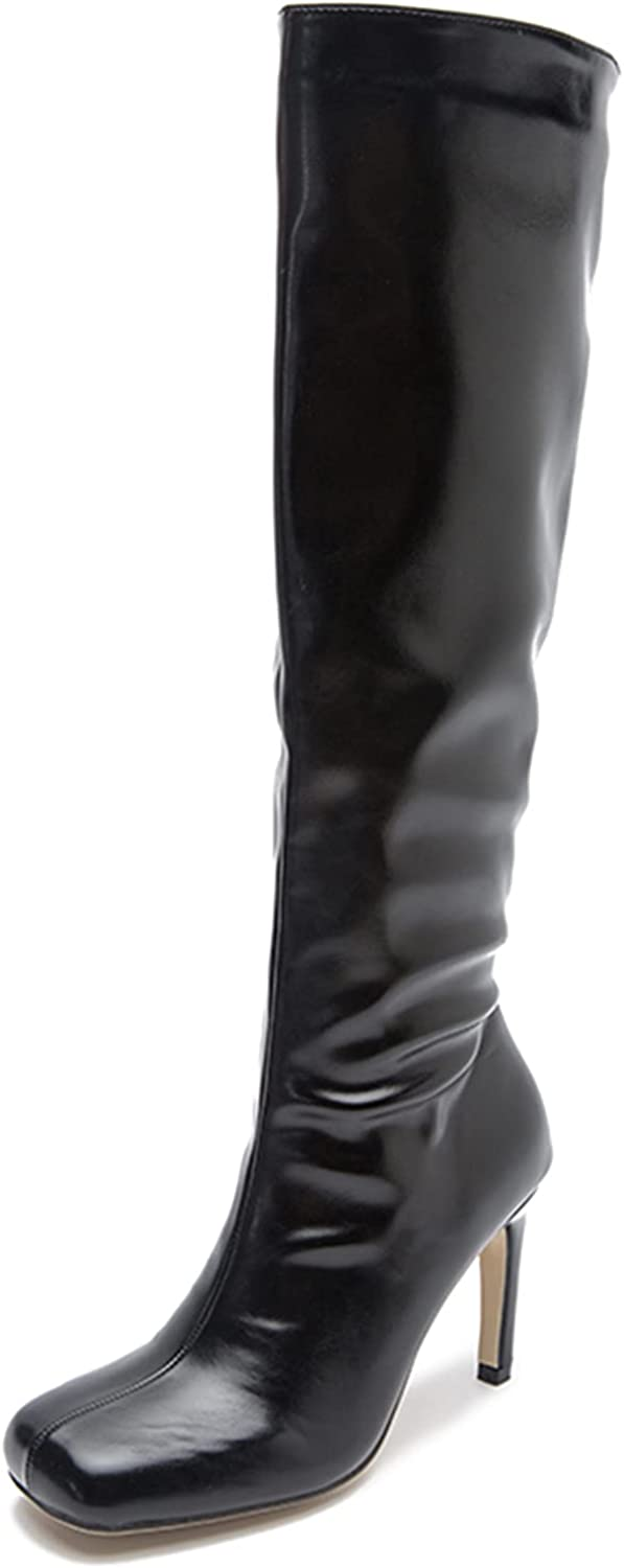 Women Leather Chunky Heel Zipper Thigh High Knee-length Boots At the Ranking TOP20 price