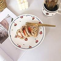 ディナープレート ボーンチャイナのディナープレート小さな花食器デザートのケーキスナック料理西洋料理ビーフステーキプレートディナーキッチン食器 (Color : 20cm)