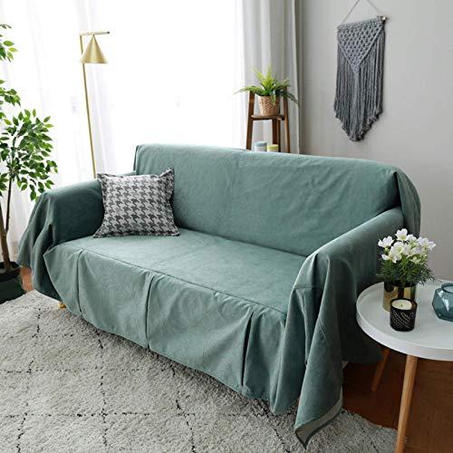 JBNJV Funda de sofá Suave, Fundas de sofá Baratas Toalla de sofá con Encaje de Moda, Funda de sofá de fácil instalación rápida Lavable a máquina-Verde 180x400cm (70.9x157.5inch)