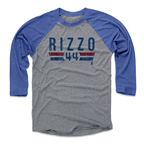 500 LEVEL Anthony Rizzo Tee Shirt (Baseball Tee, Large, Royal/Heather Gray) - Chicago Raglan Tee - Anthony Rizzo Font B