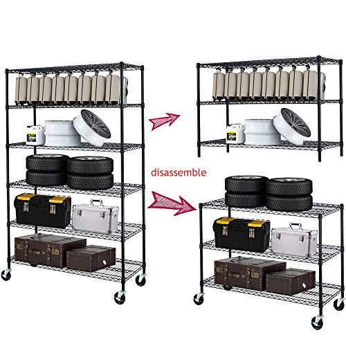 6 Tier Adjustable Wire Shelving Unit w/Casters, NSF Commercial Metal Storage Garage Shelves, 4800 LBS Capacity, Heavy Duty Standing Rack for Restaurant Pantry Kitchen (76' H x 48' W x 18' D) - Black