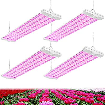 AntLux 4ft LED Grow Plant Lights 80W (600W Equivalent) Full Spectrum Integrated Growing Lamp Fixture for Greenhouse Hydroponic Indoor Seedling Veg and Flower, Plug in with on/Off Switch, 4 Pack