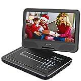 WONNIE 2019 Upgrade 12.5' Lecteur DVD Portable avec écran Rotatif à 270°, Carte SD et Prise USB avec Charge directe Formats/RMVB/AVI / MP3 / JPEG, Parfait pour Enfants (Noir)
