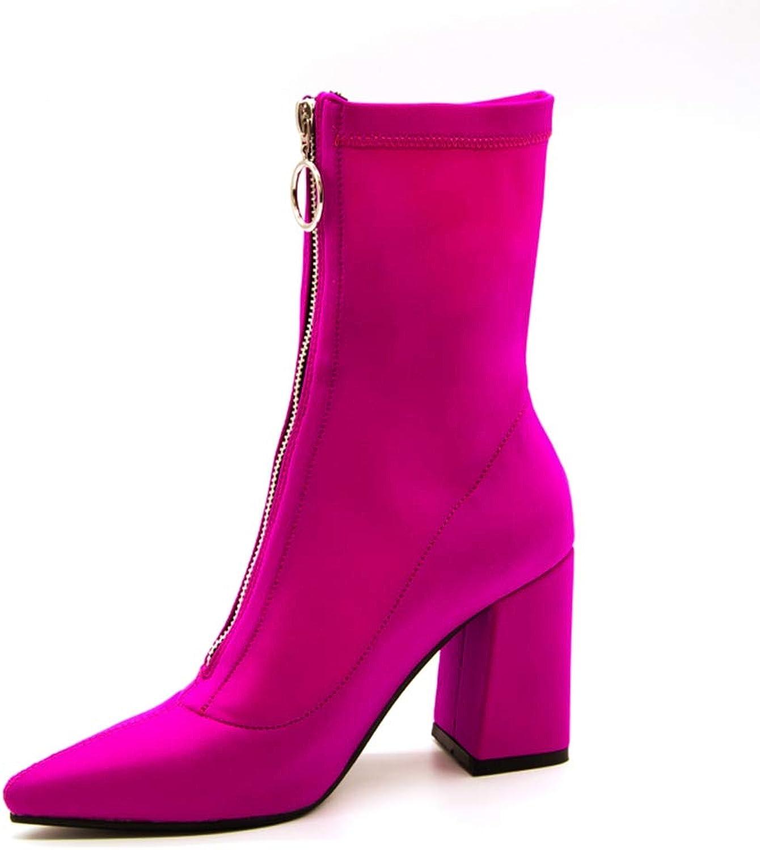 Mina damer Stretch Fabric Socks stövlar kvinnor Pointed Toe Zip Footwear Mode Ankle stövlar High klackar Mid Calf Kvinnliga skor