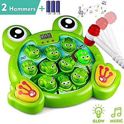 KKONES Music Super Frog Game Toddler Toys - 2 Hammers Baby Interactive Fun Toys Toddler Activities Games with Music&Light for Kids Ages 3 4 5 6 7 8 Boys Girls