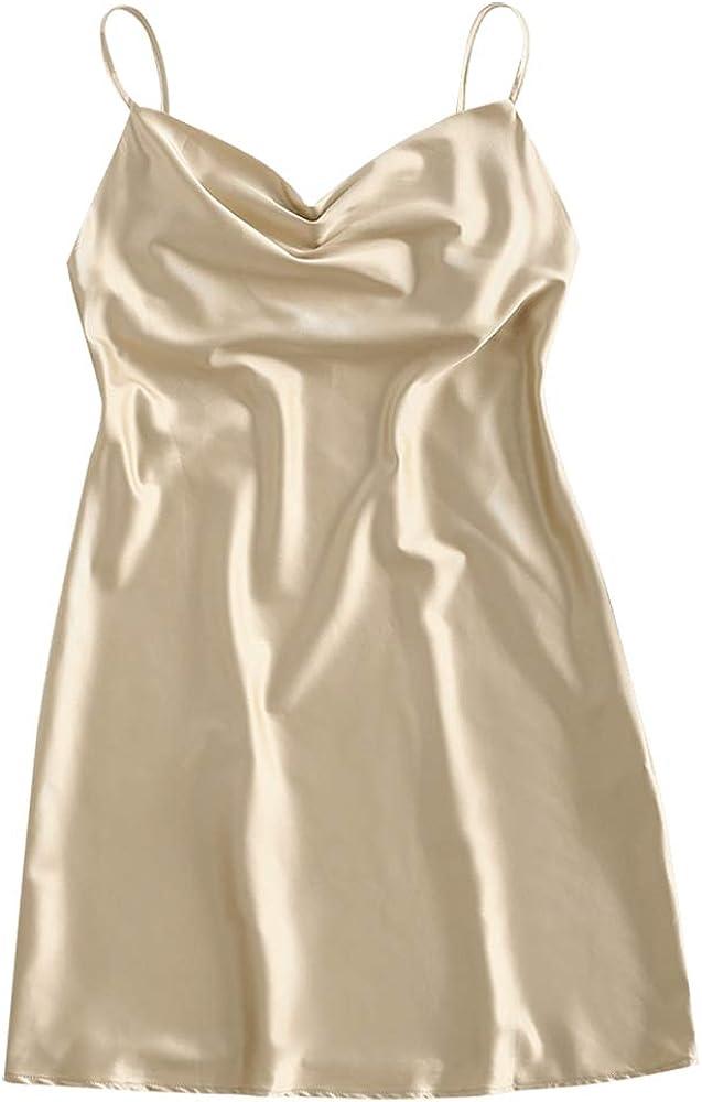 ZAFUL Women's Tie Dye Spaghetti Strap Cowl Neck Side Slit Party Mini Cami Dress
