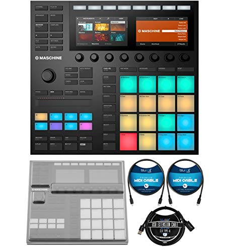 Native Instruments MASCHINE MK3 Drum Controller and USB Audio Interface Bundle with DeckSaver Protective Cover for MK3, Blucoil 3-FT USB 2.0 Type-A Extension Cable, and 2-Pack of 5-FT MIDI Cables