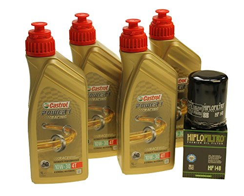 Oliewisselset 4 liter Castrol SAE 10W-30 Power 1 Racing 4T incl. oliefilter Hiflo HF148 bijv. TGB Blade Target, Yamaha FJR 1300