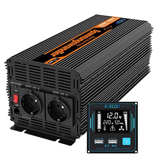 EDECOA Conversor 2000w Inversor 12v 220v 230v 2x USB nuevo mando a distancia Transformador onda modificada 2000w y pico momentaneo de 4000w inversor para instalacion solar