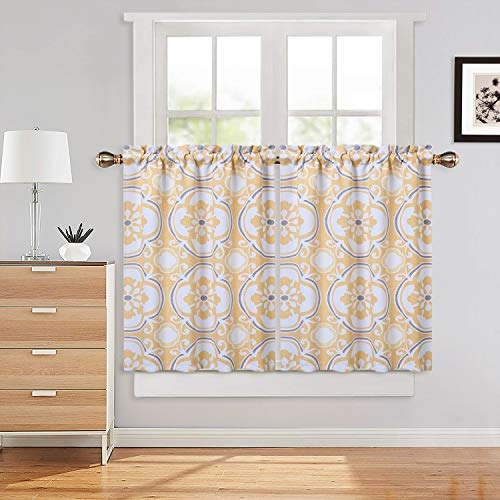 """Haperalre Yellow Floral Pattern Cafe Curtains 36 Inches Length, Medallion Printed Rod Pocket Blackout Short Tier Curtain for Kitchen Bathroom Window Curtains, 26"""" x 36"""", Yellow/Grey, Set of 2"""
