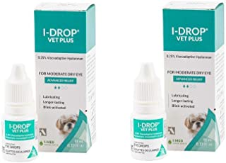 I-Med Pharma Dog & Cat Eye Drops, I Drop Vet Plus Eye Lubricant (2 Pack) - Ointment Multi dose Bottle for Infections - 10ml (Count of 2)