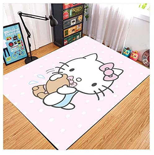 WPCheng Alfombra Hermoso Gato Hello Kitty Alfombra Suave Antideslizante para Decoración del Hogar Impresa En 3D V-318H 140X200Cm