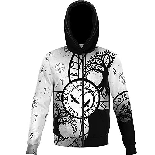 Viking Herren Zip Up Pullover Odin Crow Rune Hoodie Kompass Lucky Amulet Jacke Kapuze Top Streetwear Weicher 3D-Druck Retro Fashion Casual Loose Coat,White b,XS