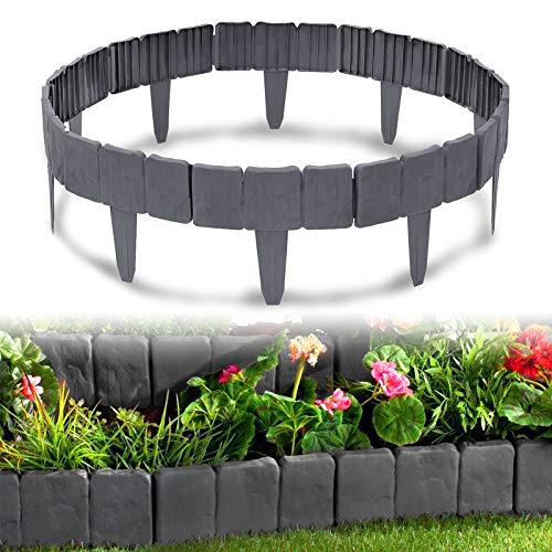HENGMEI Rasenkante in Steinoptik 5m Beetumrandung Mähkante 20 stücke Randsteine Kunststoff Beeteinfassung Gartenzaun 1 Element (L x H): 25cm x 23cm, Anthrazit