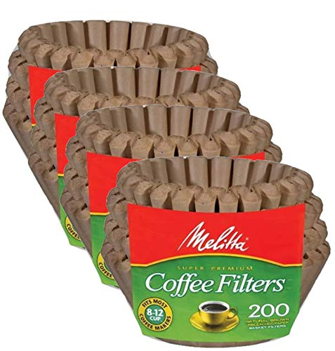 Melitta 62957 8 To 12 Cup Natural Brown Basket Coffee Filters 800 Count, 4 Pack