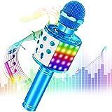 Phiraggit Micrófono Karaoke Bluetooth, Microfono Inalámbrico Karaoke Portátil con Altavoz y LED para Niños Canta Partido Musica, Compatible con Android/iOS PC, AUX o Teléfono Inteligente (Azul)