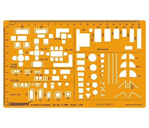 Architekt szablon do rysowania i projektowania szablon techniczna skala rysunku symbole mebli do domu wnętrze planu piętrowego skala 1:100