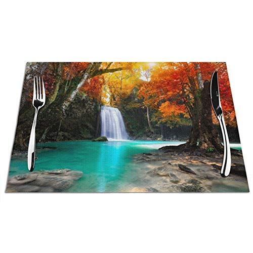 VOROY Primeval Forest Platzsets für Esstischdekoration, quadratisch, mit PVC, schmutzabweisend, hitzebeständig, für...