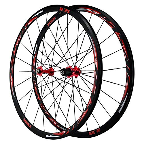 ZNND 700C Ruedas De Bicicleta,Carretera Bicicleta Rueda Pared Doble Freno C Freno V Altura del Círculo 30 MM 7/8/9/10/11/12 Velocidad (Color : Red hub, Size : 700C)