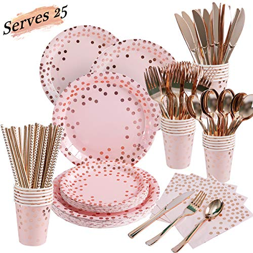 200 Pieces Pink and Rose Gold Party Supplies - Rose Gold Dot on Pink Paper Plates Napkins Straws and Cups Silverwares Serves 25 for Wedding Bridal Shower Girls' Birthday Party Graduation Decorations