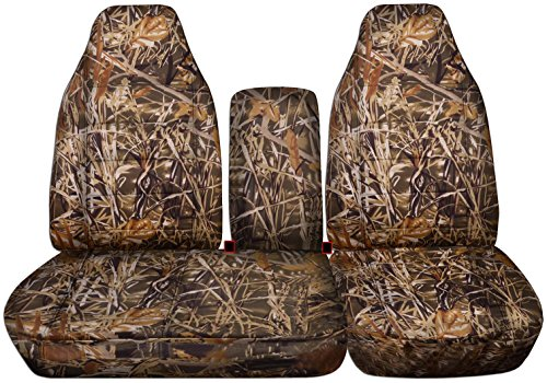 Totally Covers Compatible with 1997-2000 Ford F-150 Camo Truck Seat Covers (Front 40/60 Split Bench) with Opening Center Console/Solid Armrest: Wetland Camouflage (16 Prints) F-Series F150