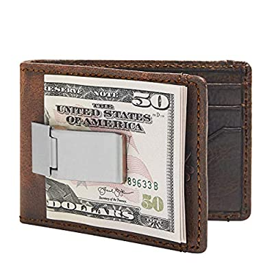 HOJ Co. DEACON ID BIFOLD Front Pocket Wallet | Full Grain Leather | Bifold Money Clip Wallet | (Brown Natural Grain)