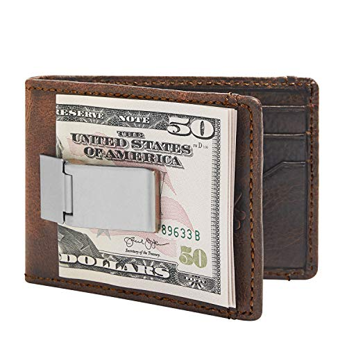 HOJ Co. DEACON ID BIFOLD Front Pocket Wallet For Men   Full Grain Leather   Bifold Wallet With Money Clip (Brown Natural Grain)
