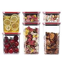 保存容器 WHZG 密封されたプラスチック製の収納ボックス貯蔵タンクにおける冷蔵庫の6封止さ食品貯蔵容器 キャニスター (Color : Black+red)