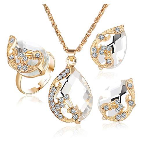 3 stück pfau Strass Halskette Ring Ohrringe schmuck Set Mode Charme kristall anhänger Geschenk für Frauen Dame